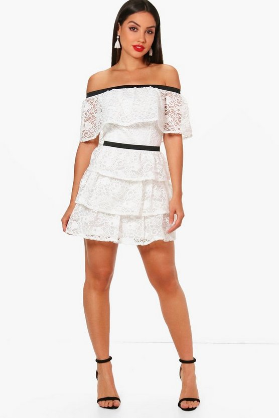 Boutique Taylor Tiered Lace Skater Dress