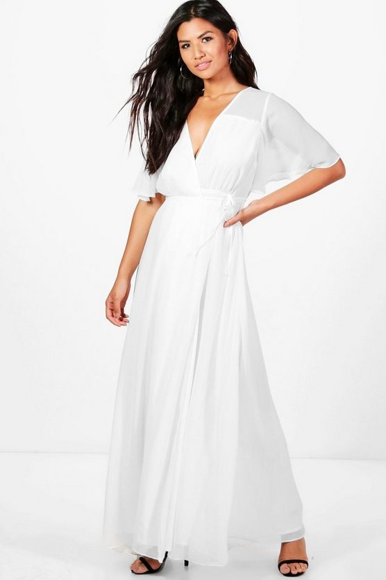 Emmaline Chiffon Angel Sleeve Maxi Dress