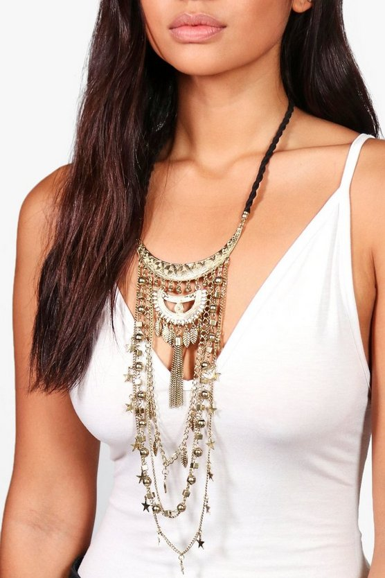 Lucy Statement Plunge Star Detail Necklace