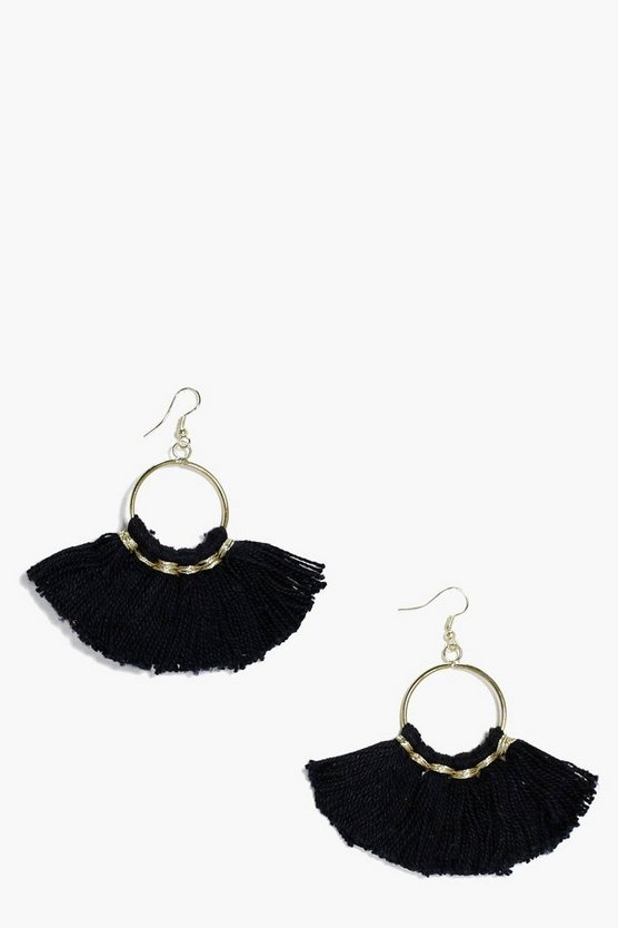 Georgie Tassel Fringe Hoop Earrings