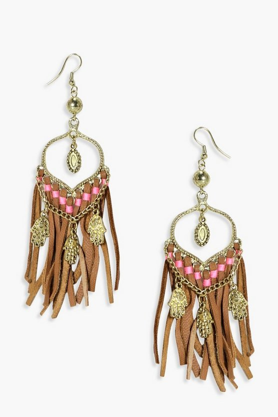 Lily Hamsa Hand Tassel Earrings