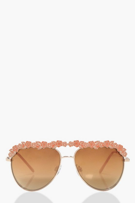 Megan Floral Aviator Sunglasses