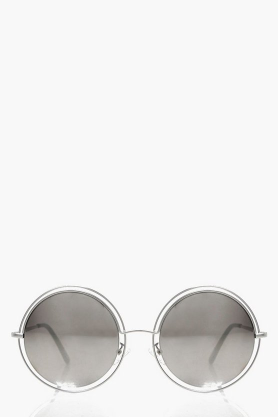 Ellie Cut Out Mirrored Round Sunglasses