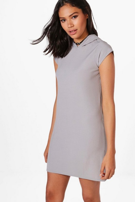 Ali Ribbed Hooded Oversized T-Shirt Dress