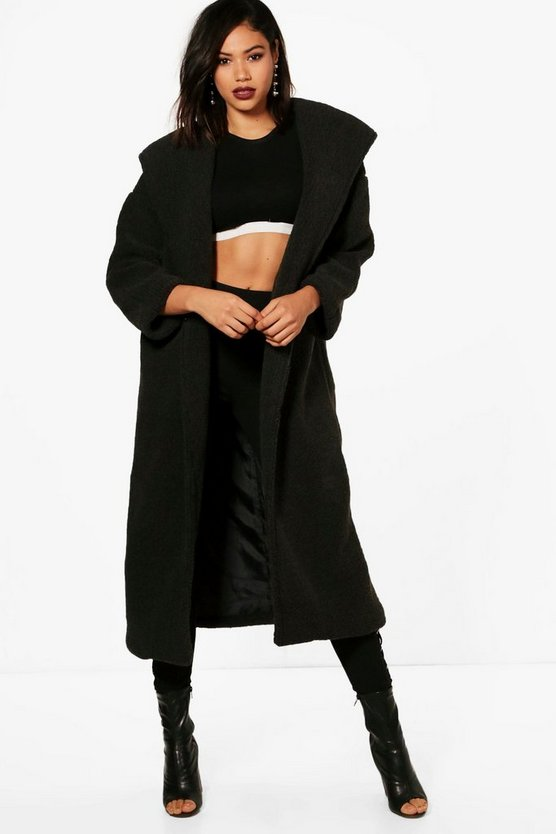 Maria Oversized Hoody Teddy Maxi Coat