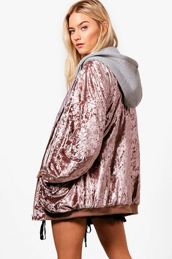 Boutique Oversized Velvet Bomber With Hood