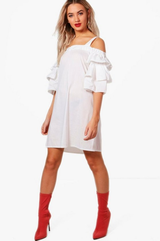 Lottie Cold Shoulder Frill Dress