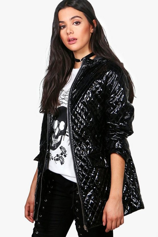 Jasmine Metallic Quilted Rain Coat
