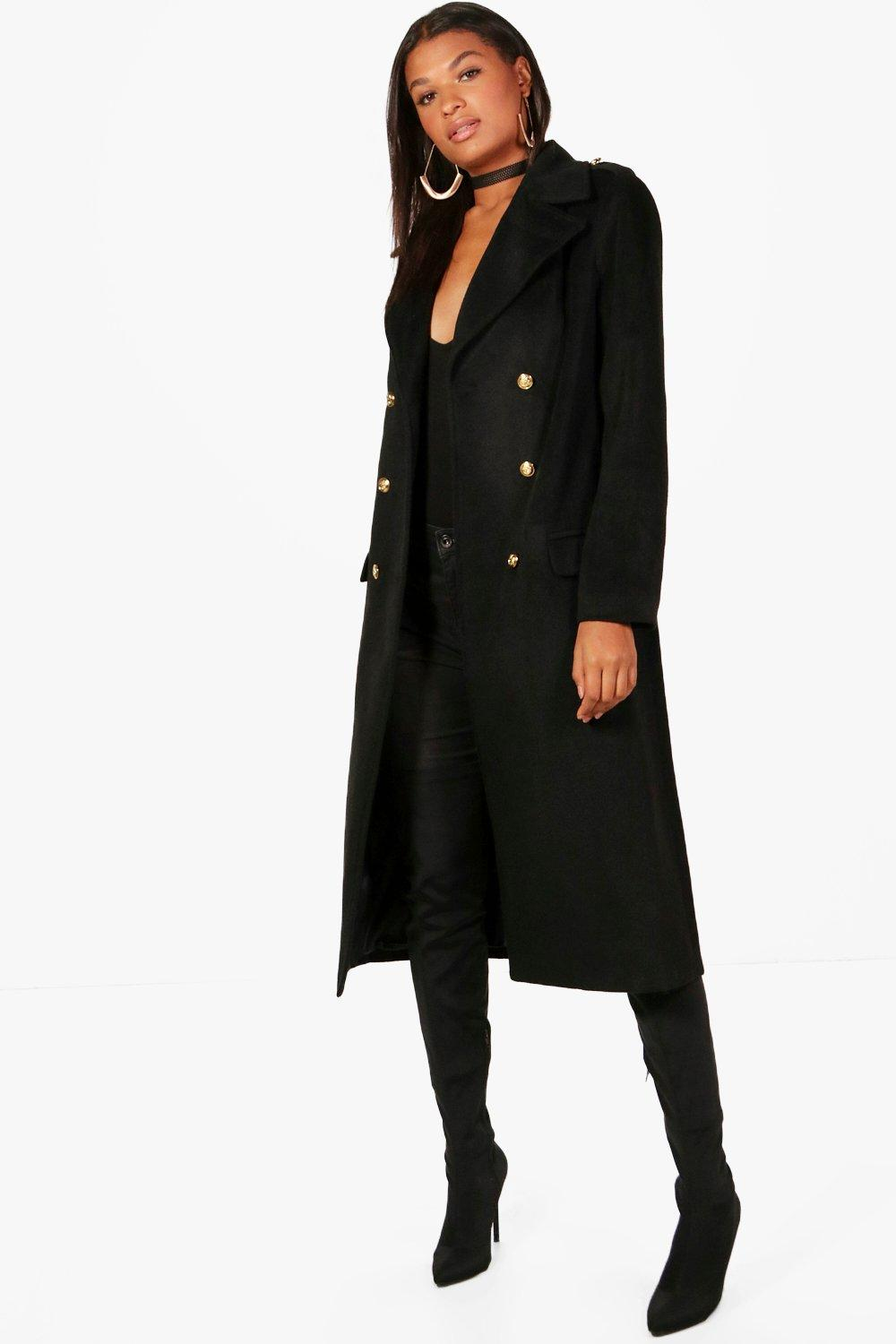 Double Breasted Military Coat - black