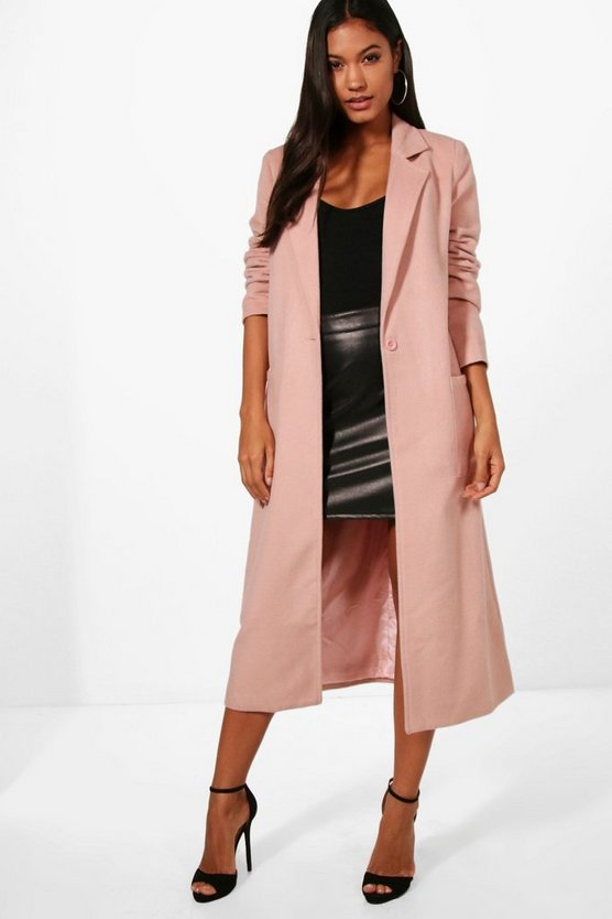 Alice Longline Button Wool Look Coat