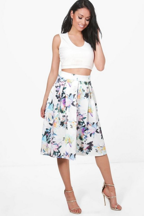 Samera Floral Box Pleat Skater Skirt