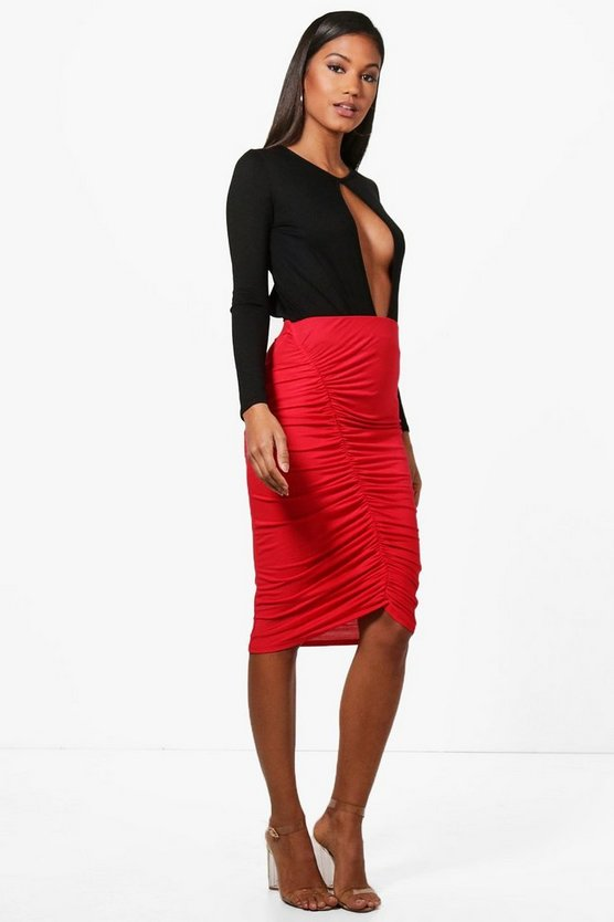 Liah Rouched Front Jersey Midi Skirt