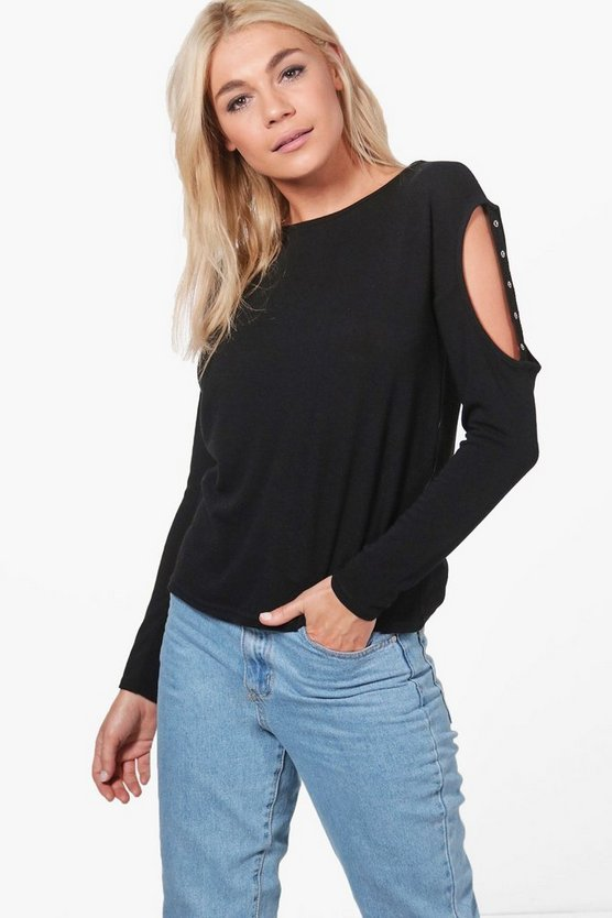 Sophie Eyelet Cold Shoulder Knitted Top