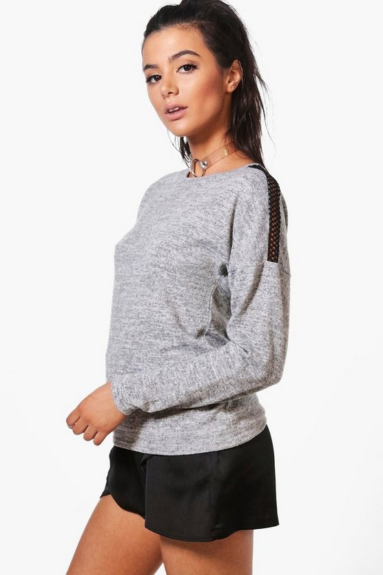 Hailey Mesh Shoulder Knitted Top
