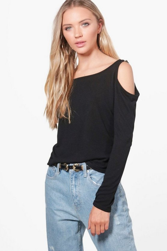 Olivia D-Ring Cold Shoulder Knitted Top