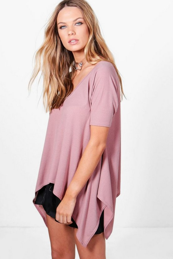 Sarah Asymmetric Hem Knitted Top