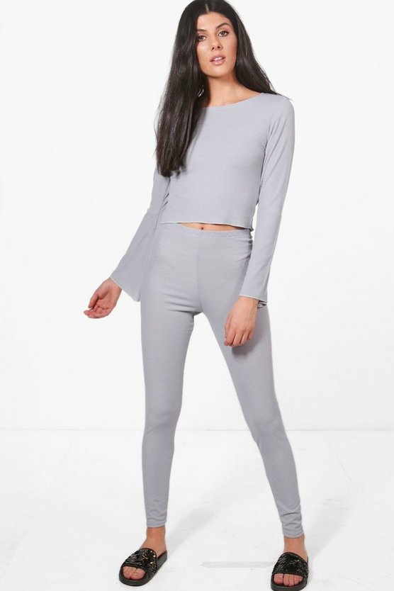 Emma Flute Sleeve Crop Top & Legging Knitted Set