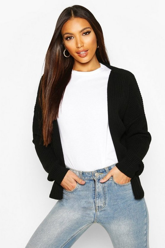 Oversized Rib Crop Cardigan