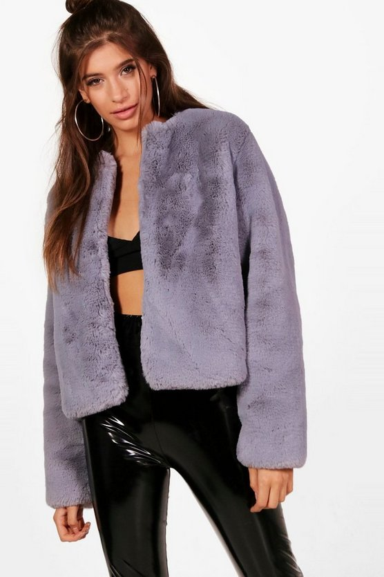 Hailey Boutique Crop Faux Fur Coat