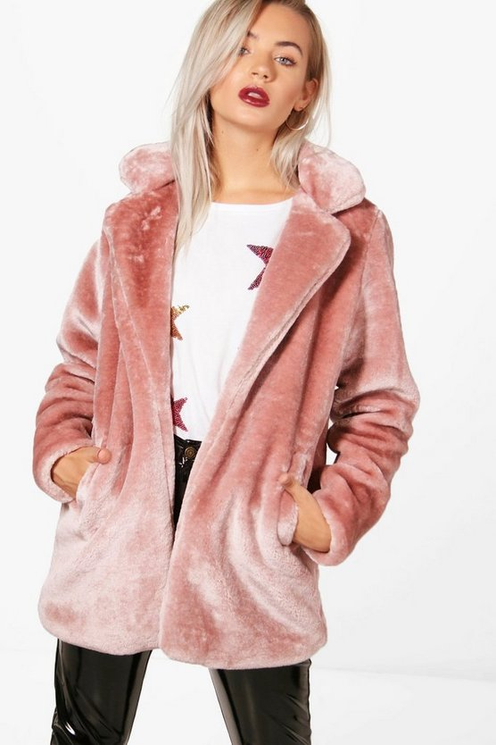 Holly Collared Faux Fur Coat