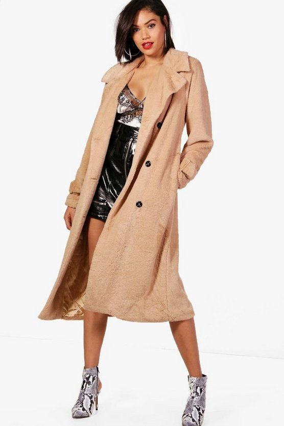 Leah Double Breasted Faux Fur Trench