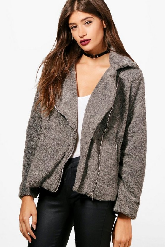 Natasha Teddy Faux Fur Biker Jacket