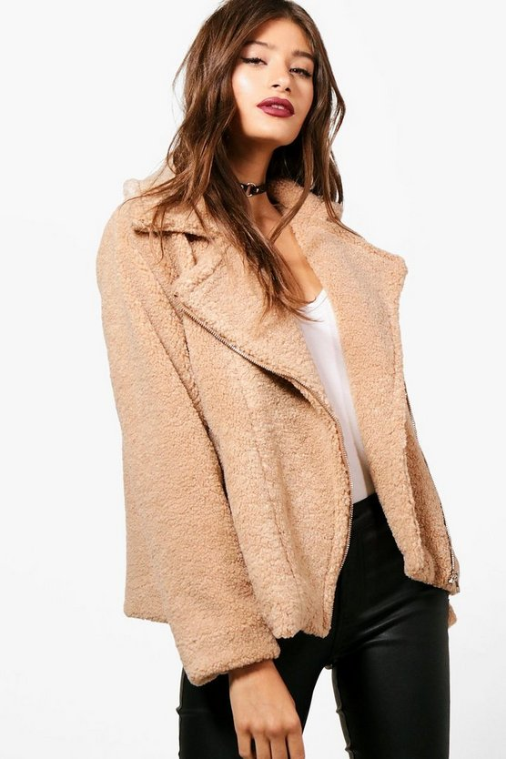 Natasha Teddy Fur Biker Jacket