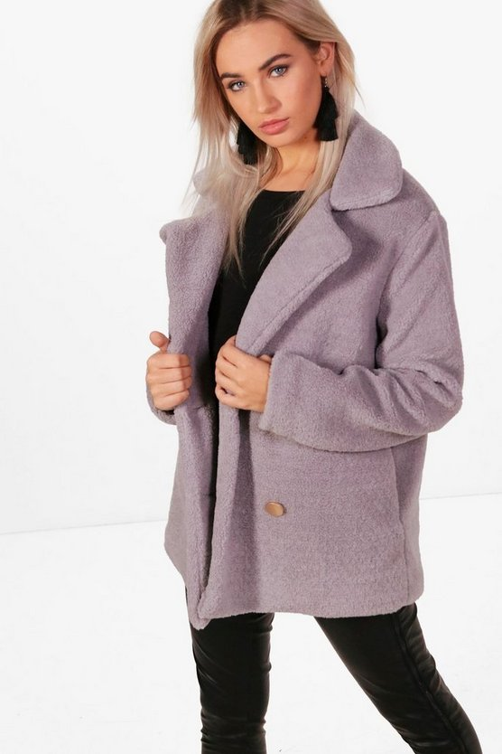 Lauren Double Breasted Faux Fur Teddy Coat