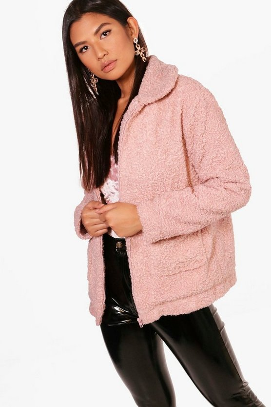 Erin Zip Through Teddy Coat