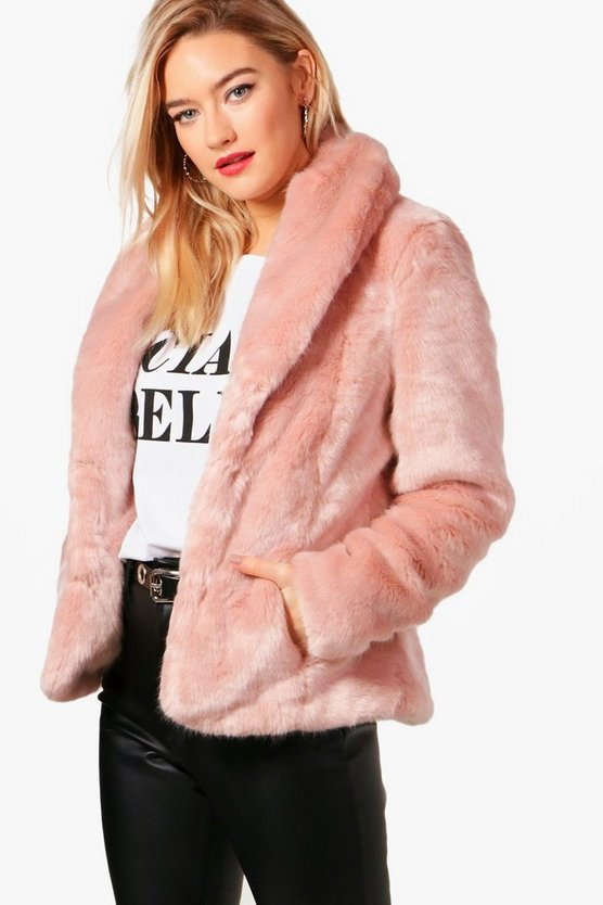 Sophie Boutique Shawl Collar Faux Fur Coat