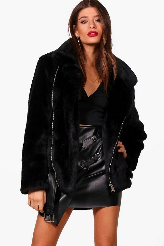 Lottie Boutique Oversized Faux Fur Aviator
