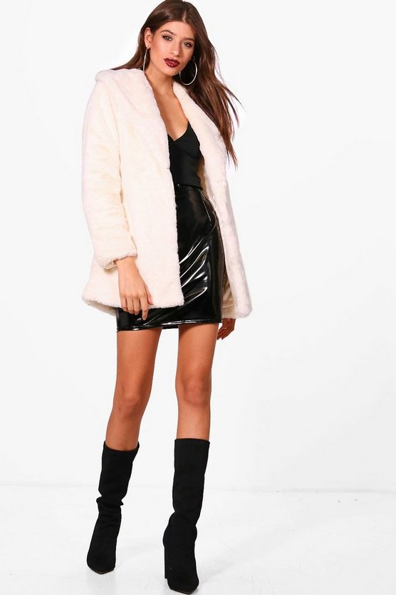 Boutique Shawl Collar Belted Faux Fur Coat