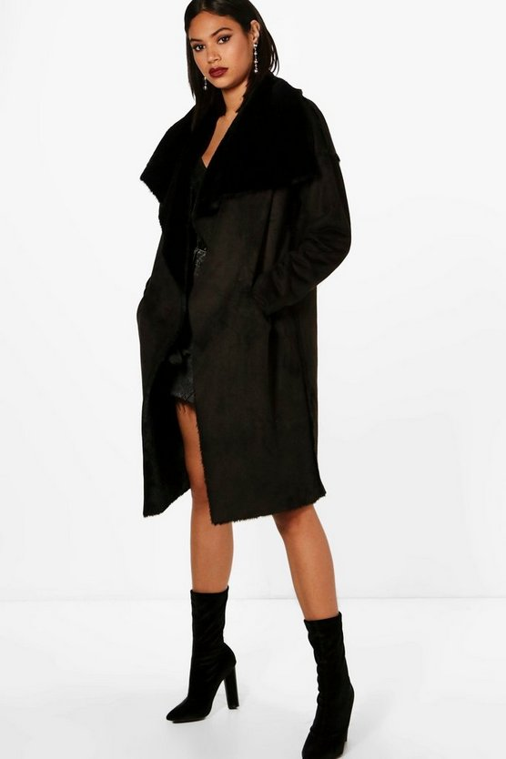 Boutique Reversible Faux Fur Bonded Coat
