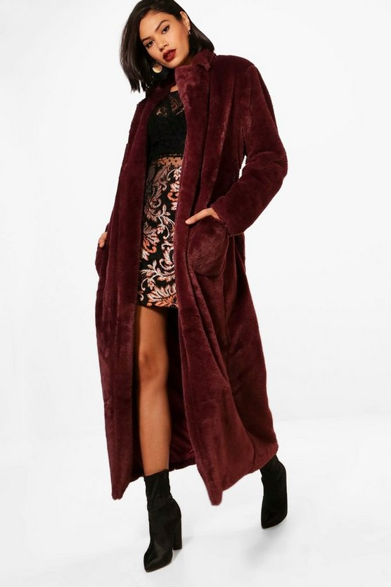 Phoebe Boutique Belted Faux Fur Robe Coat