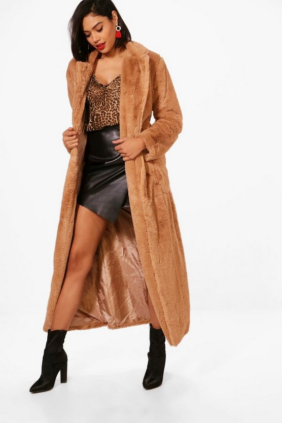 Boutique Belted Faux Fur Robe Coat