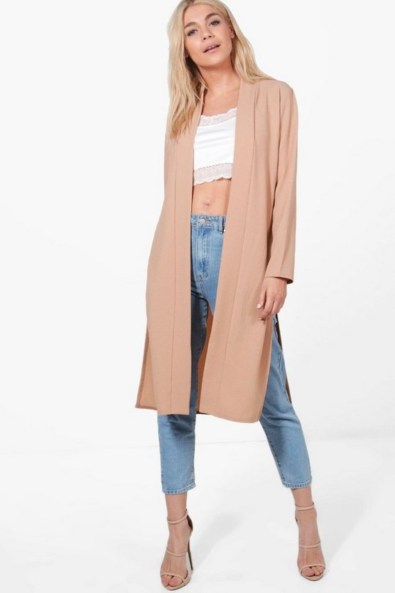 Isa Collarless Woven Duster