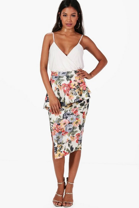 Sina Floral Peplum Side Split Midi Skirt