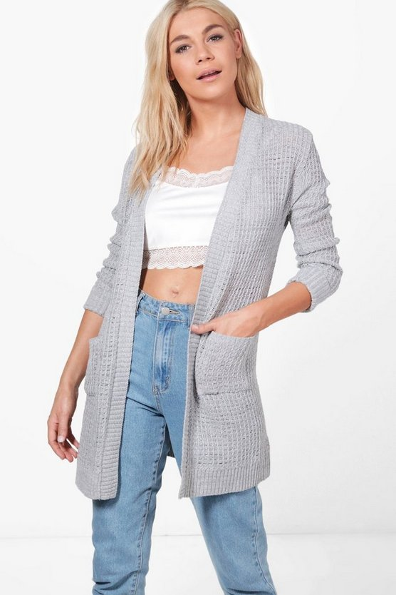 Jean Crochet Knit Turn Up Sleeve Cardigan