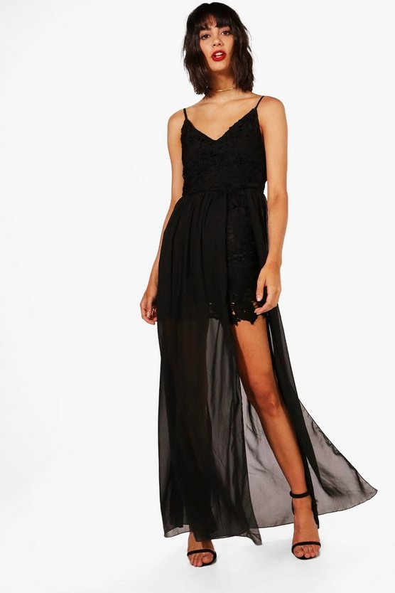 Lia Strappy Bodycon With Chiffon Overlay Maxi Dress