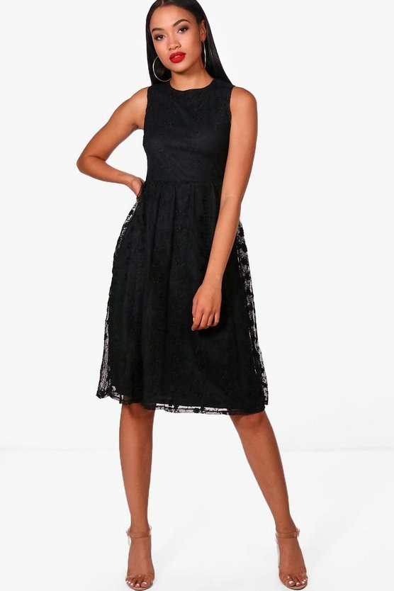 Marie Embroidered Mesh Sleeveless Skater Dress