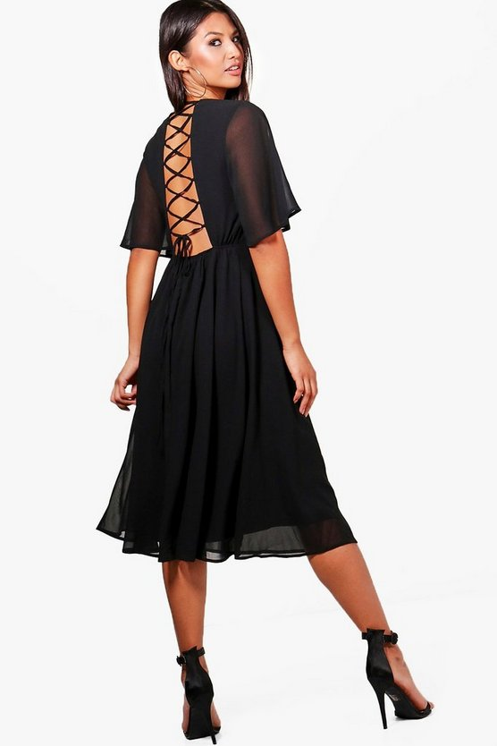 Ava Chiffon Angel Sleeve Lace Up Back Skater Dress