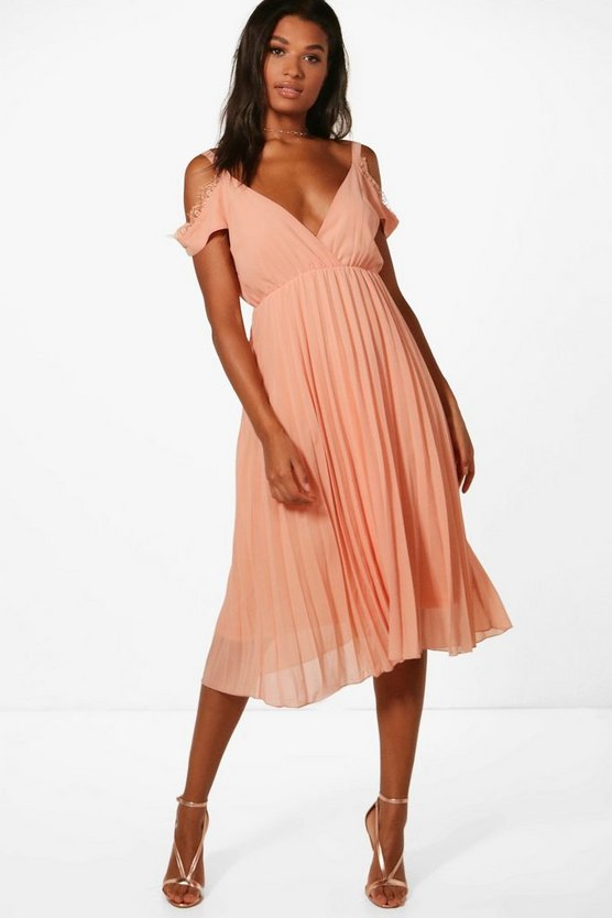 Chiffon Lace Trim Cold Shoulder Pleated Skater
