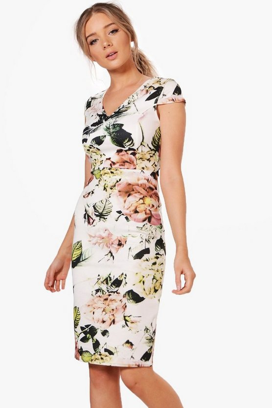 Maggie Floral Print Midi Dress