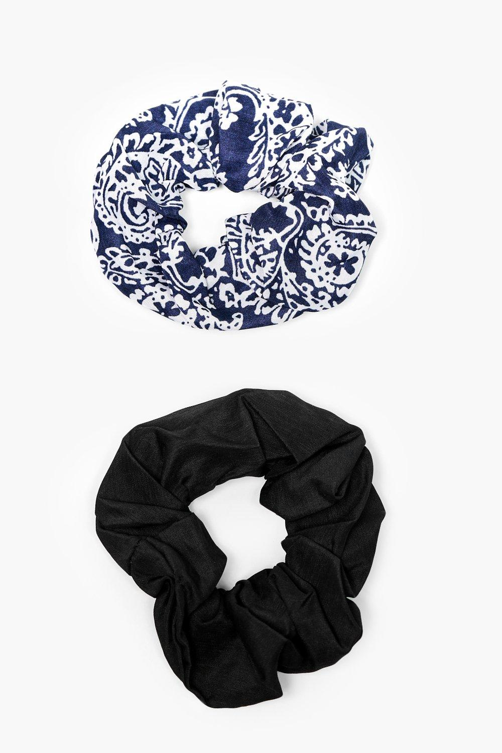 Paisley Print Scrunchie 2 Pack - navy - Amelie Pai
