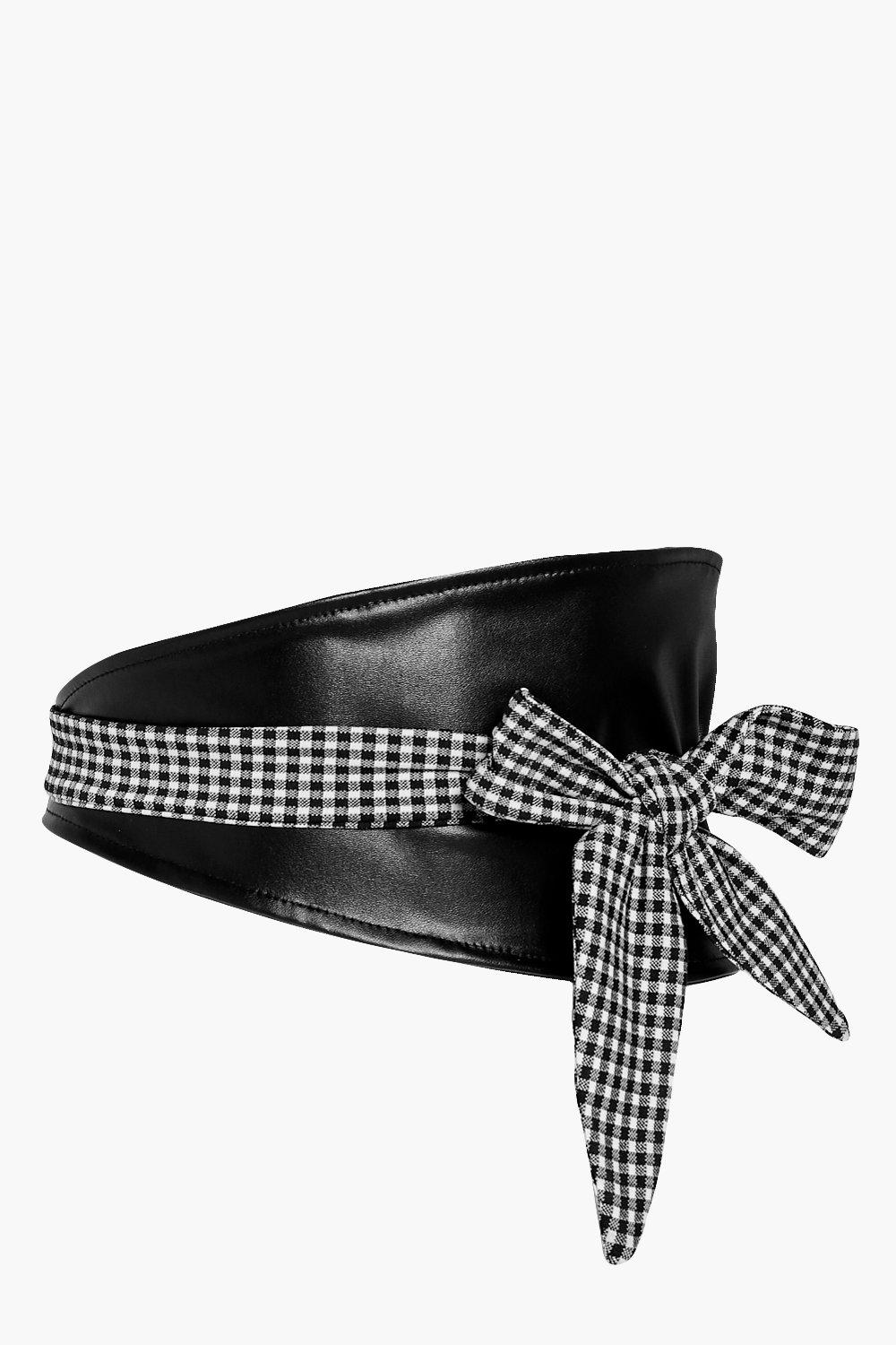 PU Waist Belt With Gingham Tie - black - Esme PU W