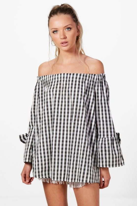 Alexis Gingham Flute Sleeve Cotton Blouse