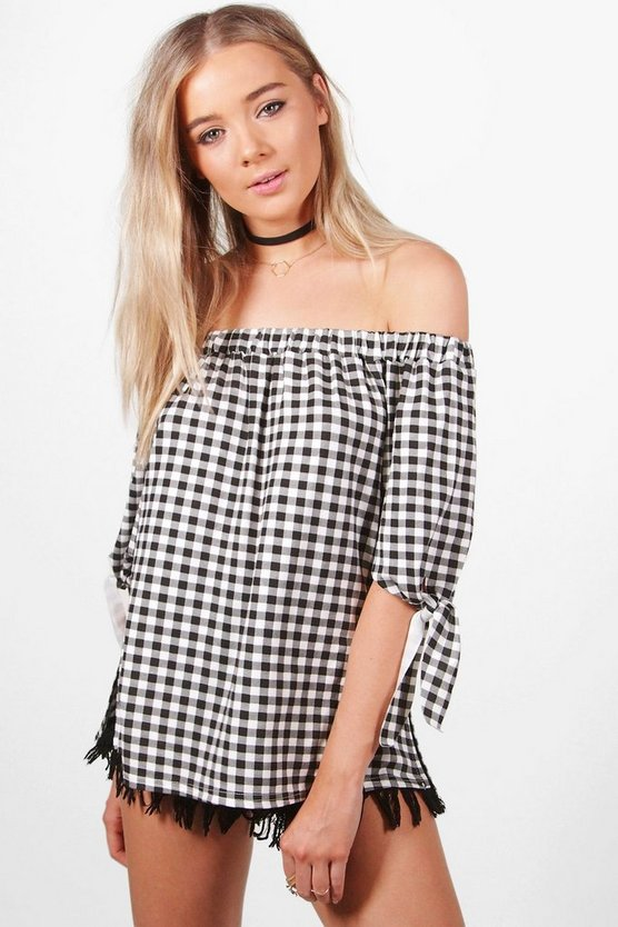 Louise Tie Sleeve Gingham Jersey Bardot Top