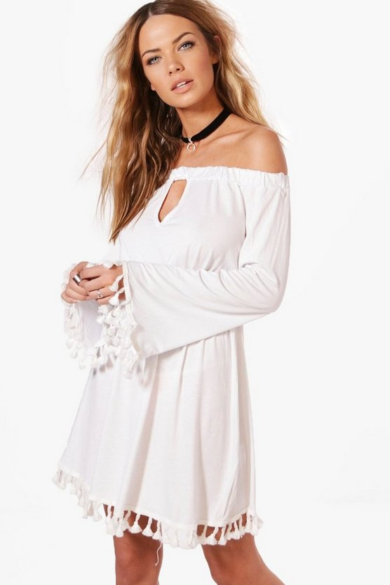Emilie Off The Shoulder Cut Out Tassel Trim Dress
