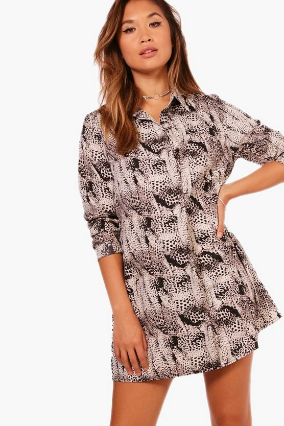 Louise Snake Print Shirt Dress