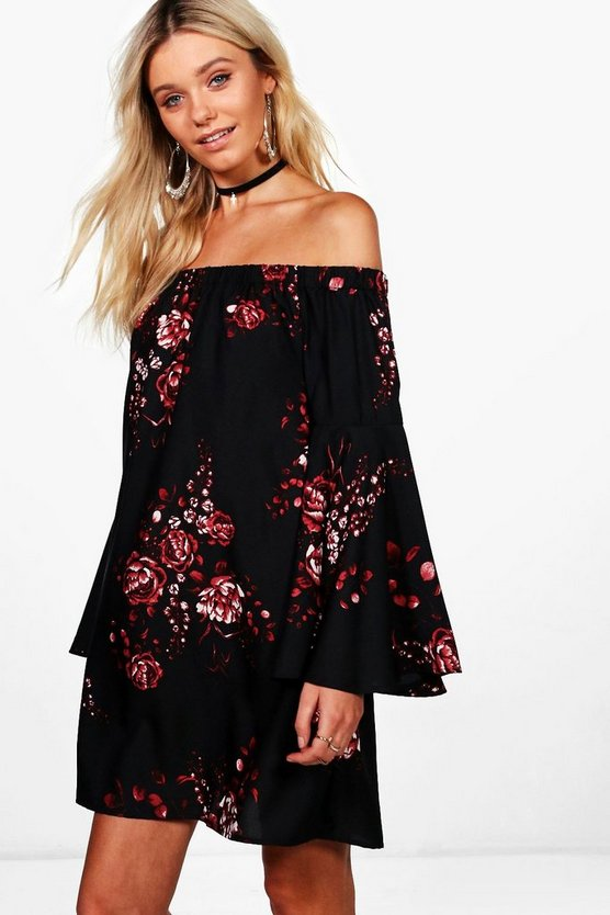 Louisa Printed Extreme Flute Sleeve Off Shoulder Dress